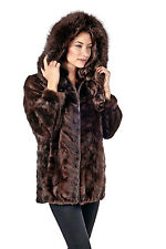 Womens Real Hooded Mink Fur Coat Jacket Parka Zippered Mahogany Sculptured Mink