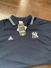 NEW YORK YANKEES Men Navy Sewn Logo ClimaCool Short Sleeve Polo Shirt L Adidas