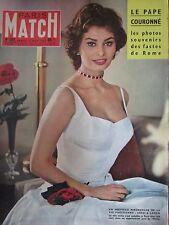 PARIS MATCH N° 501 de 1958  SOPHIA LOREN / COURONNEMENT DU PAPE JEAN XXIII