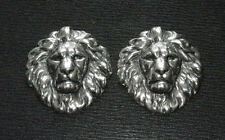 SILVER PLATED LION MENUKI : Decoration for Japanese Samurai Sword