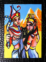 """Original art by Bastet """"Pharaoh and Girl with Cat"""" OOAK hand painted ACEO"""