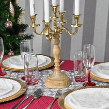 5 Arm Candelabra Traditional Wooden & Gold Candlestick Candle Holder Christmas
