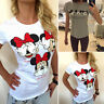 Women Minnie Mickey Mouse T Shirt Top Summer Short Sleeve Casual Tee Blouse Tops