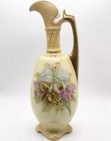 "Antique Art Nouveau Austrian Robert Hanke RH Royal Wettina Floral Ewer Vase 11""H"