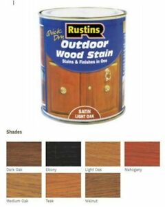 Rustins Quick Dry Outdoor Exterior  Wood Stain Varnish Satin