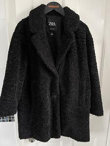 Ladies Zara Black Teddy Borg Boucle Winter Coat M 12-14 VGC