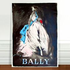 "Stunning Vintage Bally Fashion Poster Art ~ CANVAS PRINT 24x18"" White Dress"