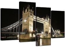 GRANDE Tela Nero Bianco Londra Tower Bridge 130cm ampio foto 4023