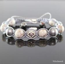 Damen Grau Howlite Rock Perlen Armband/Armschmuck Spacer für Frauen verstellbar