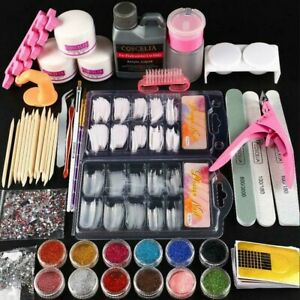 Manicure Kit Nail Tips False Nails Acrylic Powder&Liquid Nail Art Starter Set UK