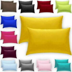 2 X Pillow Luxury Case Plain Dyed Fine Polycotton Housewife Pillow Cover Cases