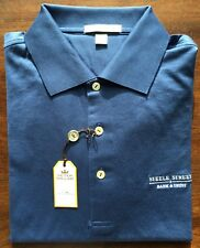 Peter Millar Blue White Steele Street Bank & Trust Logo Golf Polo Shirt Size M