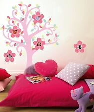 BON BON PHOTO TREE Wall Decals Pink Flowers Polka Dot Frames Room Decor Stickers