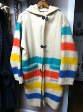 Vintage Wool Trade Blanket Coat with Hood, Colorful Striping