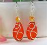 SEA GLASS Teardrop Orange Loop Swirl SILVER Dangle Earrings USA HANDMADE