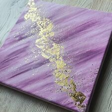 Original Acrylic Abstract Painting On Canvas Pink Gold Leaf Modern Glitter Art