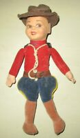 "VINTAGE OLD NORAH WELLINGS FELT CANADIAN MOUNTIE COP DOLL 9-1/2"" tall"