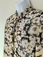 Miss Selfridge Top Shirt Blouse Semi Sheer Floral Size 14