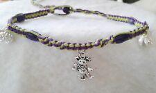 Dancing Bear Charm Hemp Bell Anklet Grateful Dead Ankle Bracelet Green Purple