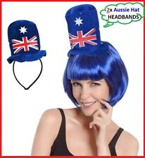 2x AUSTRALIA FLAG Top HAT HEADBANDS Aussie Commonwealth Olympic Work Event Party