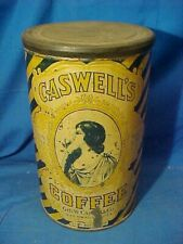 Early 20thc CASWELLS YELLOW + BLUE 3lb COFFEE TIN -Estate of STEVE McQUEEN w COA