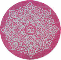 Modern Pink Waterproof Outdoor Rug Damask Floral Round Circle Washable Flat Rugs