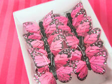 """12 Polyester 1.5"""" Craft Monarch Butterfly w/Wire/Floral Decoration L68-Pink"""