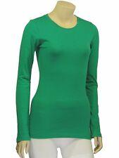 Cotton T-SHIRTS CREW/ROUND NECK Long Sleeve Women/Junior Solid Top S-XL SJ2900