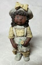 "Sarah'S Attic ""Belle"" Black Girl Figurine Yellow Dress Pinafore Hat Numbered"