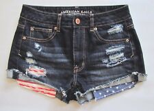 American Eagle Denim Shorts 2 Flag Patriotic Festival Hi Rise Destroyed Shortie