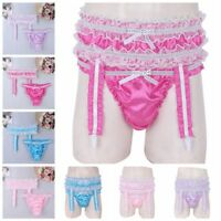Men's Satin Underwear Sissy Bulge Pouch Panties Briefs Underpants with Garters