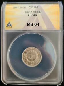 1867 Brazil Silver 200 Reis ANACS MS64 Uncirculated UNC Pedro II