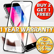 For iPhone 6 7 8 Plus Genuine Full Cover Gorilla Tempered Glass Screen Protector