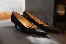 Joseph Azagury Black Satin Silk Shoes Pumps Kitten Heel New Made in Italy Sz 8.5