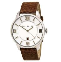 Ted Baker Men's Watch Dress Sport White Dial Brown Leather Strap 10015154