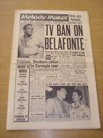 MELODY MAKER 1958 JULY 12 HARRY BELAFONTE JAZZ FESTIVALS DICKIE VALENTINE +