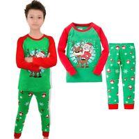 Christmas Santa Baby Kids Boys Long Sleeve Sleepwear Suit Pajamas Sets Size 2T-7