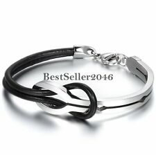 Infinity Love Knot Black Leather Silver Stainless Steel Men's Women's Bracelet
