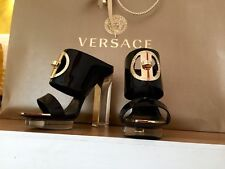 New Versace black patent leather transparent heel mules