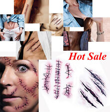 5pcs Halloween Zombie Scars Eccentric Tattoos makeup Shock Night Scream Party RF
