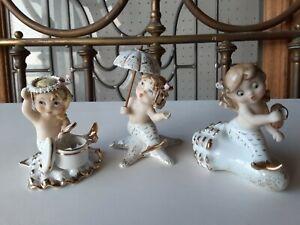Vintage LEFTON Figurines Mermaids on Shells  Whimsical Hatbox Mirror Umbrella