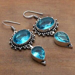 "Blue Topaz Handmade Drop Dangle Earrings Jewelry 2.2"" AE 7075"