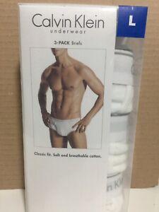Calvin Klein Men's Underwear Cotton Classic Fit Briefs 3 Pack White Size L