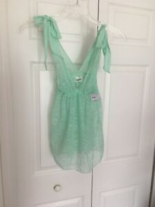 NWTS FREDRICKS of HOLLYWOOD Green Lace SMALL Sheer Babydoll  Nightgown