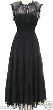 SIZE 14 MAXI BLACK LONG DRESS 70'S VICTORIAN GOTH TIERED LINED # US 10 EU 42