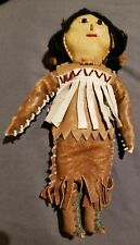 "Vintage Native American Indian Leather Beaded Doll 9"" Gorgeous - South West USA"
