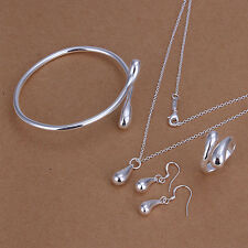 Women 925 Sterling Silver Plated &Bangle &Pendant Necklace& Earrings Jewelry Set