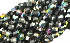 50 Black Vitral Faceted Round Glass Beads 6MM
