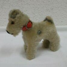 50er 60er Jahre Stofftier Hund Fox Terrier beige Hermann ? 10x11 Vintage 50s 60s
