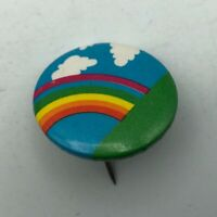 "Vintage Rainbow Blue Sky Fluffy Clouds 1"" Button Pin Pinback    F8"